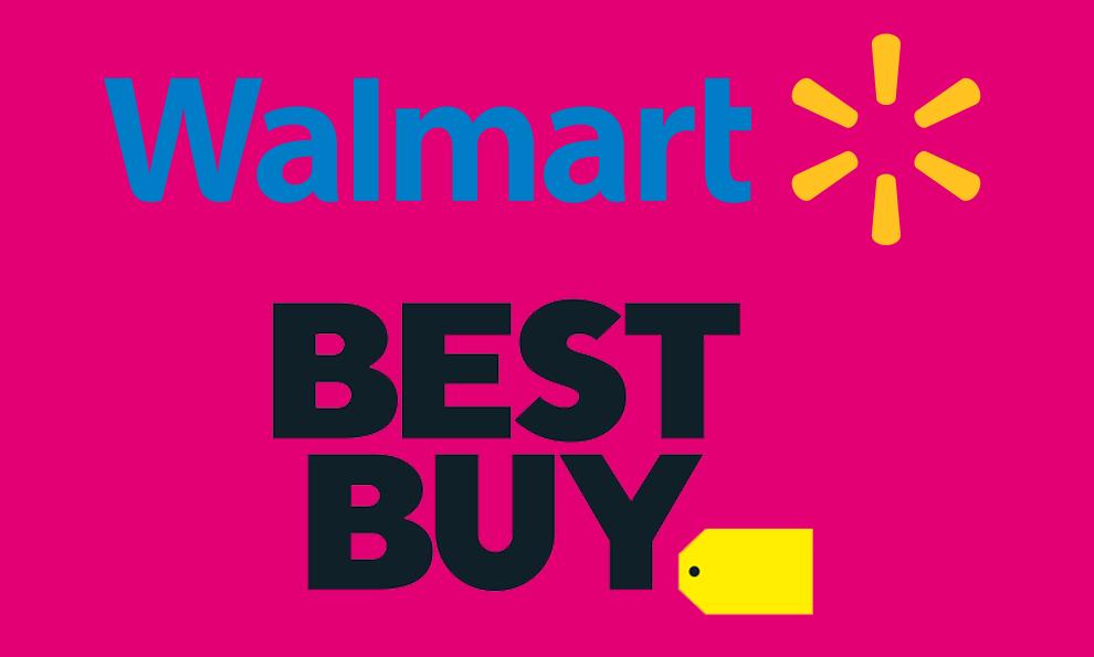 walmart best buy logo on magenta